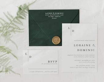 wedding invitation sample / minimalist / black white / simple / modern / monogram / initials / custom / minimal / printed /  invite