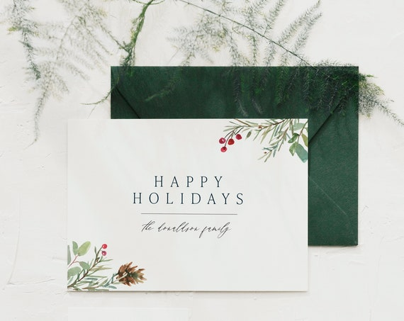 personalized christmas cards / holiday cards set / corporate cards // non photo holiday christmas corporate cards / set of 10