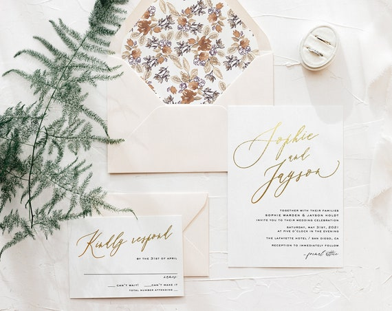 wedding invitation sample / gold foil / rose gold foil / silver foil / modern / calligraphy  / letterpress / custom / printed / invite