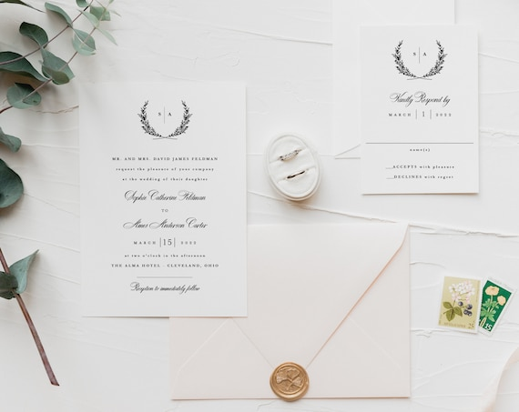 wedding invitation sample / laurel / wreath / minimalist / simple / modern / monogram / custom / minimal / printed invitation /  invite