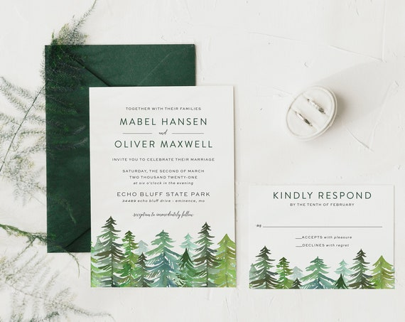 pine trees wedding invitation sample // woodland / rustic / greenery / forest / mountain / pines / winter / invite / custom / printed