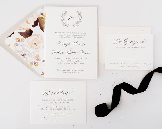 wedding invitation sample / grey / laurel / wreath / monogram / custom / calligraphy / printed invitation /  invite