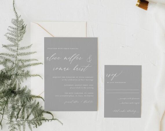 wedding invitation sample / digital / letterpress / white ink / minimalist / grey / simple / modern / custom / printed /  invite