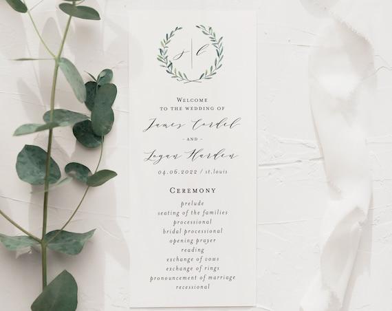 james greenery wedding programs (sets of 10)  // winery olive branch watercolor rustic eucalyptus greenery modern simple calligraphy program