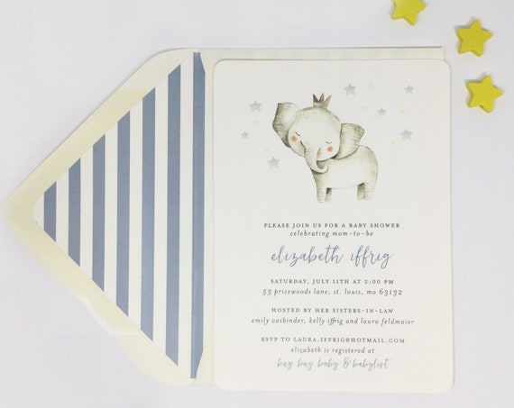 elephant baby shower invitation / baby boy / baby girl / gender neutral /  baby shower invite / dusty blue