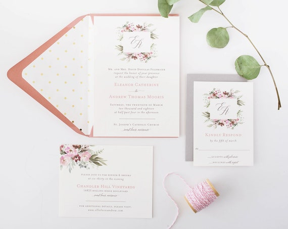 dusty rose wedding invitation sample  //  printed invite / watercolor floral / gold / blush / romantic / calligraphy / custom / invite