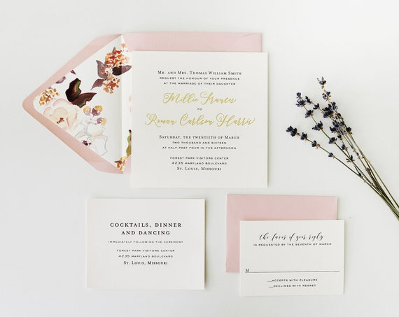 foil pressed wedding invitation sample set / gold foil / rose gold foil / silver foil / letterpress modern simple custom calligraphy invite