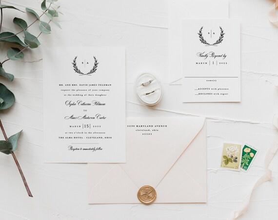 wedding invitation sample // laurel / wreath / minimalist / simple / modern / monogram / letterpress / initials / custom / printed / invite