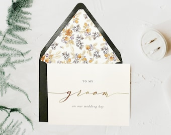 to my groom on our wedding day card / wedding card to your groom / husband / gold foil / silver foil / wedding day card / to my husband