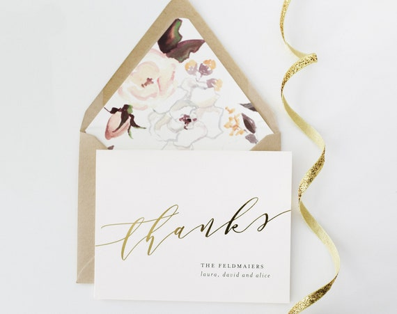 personalized foil pressed thank you cards / wedding thank you cards / gold foil / rose gold foil / silver foil / letterpress (sets of 10)