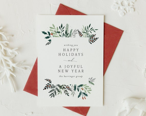 corporate holiday christmas cards / business holiday cards / holiday christmas cards set / pack / non photo / olive branch / greenery / pine
