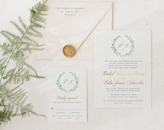 foil pressed greenery wedding invitation sample // monogram / gold foil / rose gold foil / eucalyptus / custom / invite / letterpress