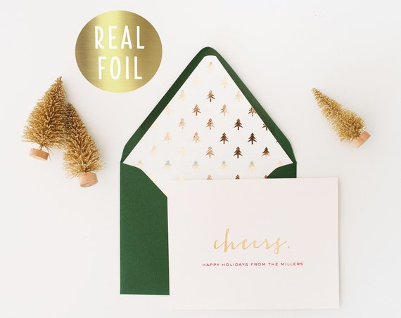 personalized gold foil christmas cards / holiday cards set / pack (set of 10) // non photo christmas holiday corporate cards gold foil