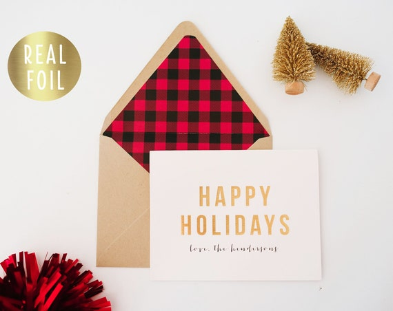 personalized gold foil christmas cards holiday cards set / pack (set of 10) // non photo christmas holiday corporate cards buffalo plaid