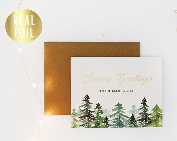 personalized gold foil christmas cards / holiday cards set / pack (set of 10) // non photo christmas holiday corporate card set