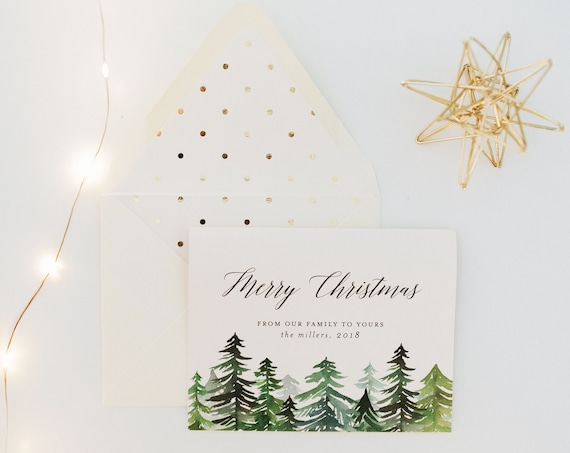 personalized christmas cards / holiday cards set / pack (set of 10) // non photo holiday christmas corporate cards pine trees forest