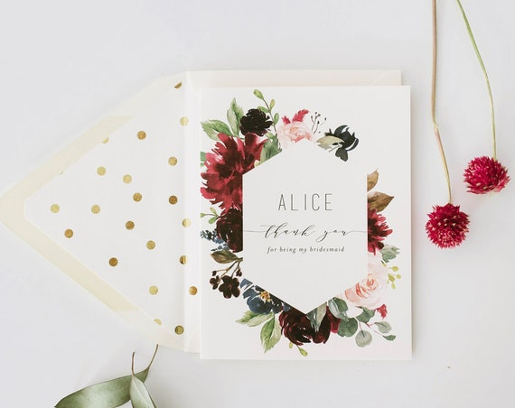personalized thank you for being my bridesmaid card / bridesmaid thank you card / burgundy floral / maid of honor / wedding party card
