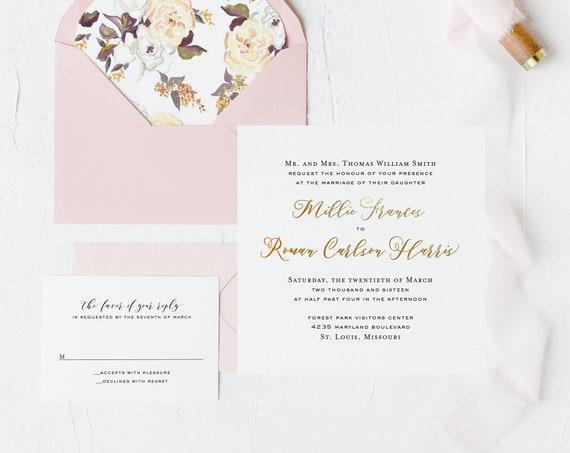 foil pressed wedding invitation sample // gold foil / rose gold foil / silver foil / letterpress / modern / simple / custom / invite