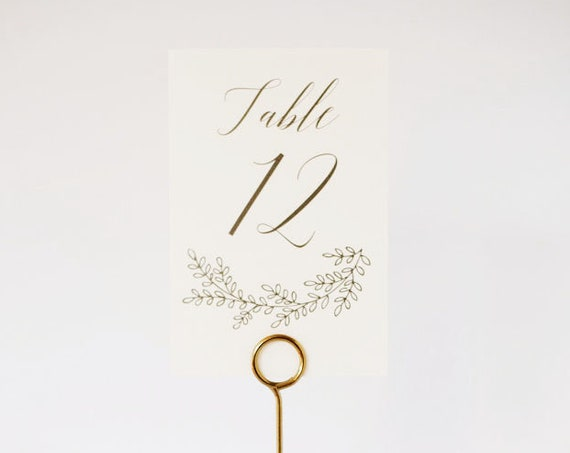 penelope table numbers  //  grey laurel branch table number decoration