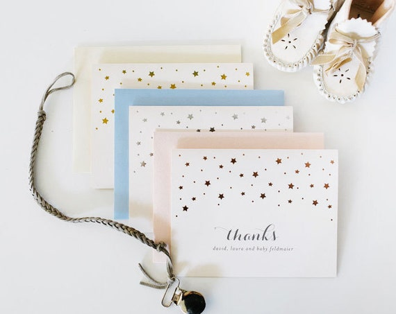foil pressed stars baby shower thank you cards / baby boy / girl / gender neutral / baby shower gift / gold foil / rose gold foil / silver