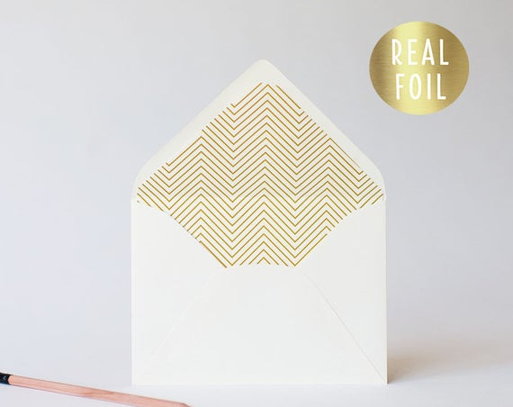 foil skinny chevron lined envelopes (sets of 10) // gold foil / rose gold foil / silver foil / modern envelope liners lined envelope