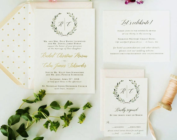foil pressed greenery wedding invitation sample // monogram winery gold foil eucalyptus custom calligraphy invite olive branch letterpress
