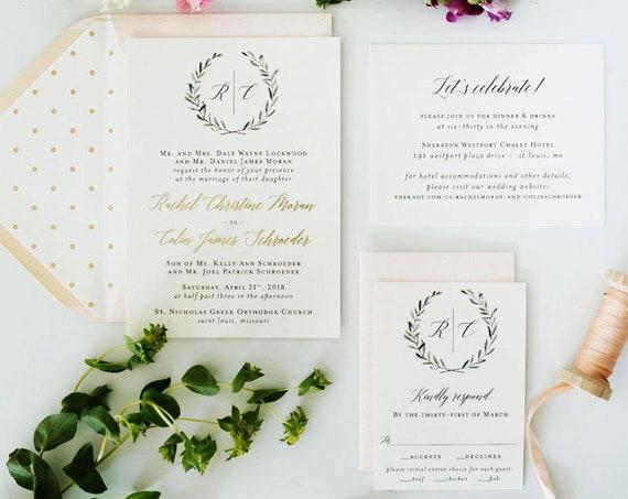 NEW! rachel foil pressed greenery wedding invitation sample // monogram winery gold foil eucalyptus custom calligraphy invite