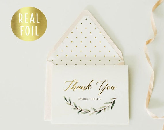 personalized foil pressed thank you cards / greenery / wedding thank you cards / gold foil / letterpress (sets of 10)