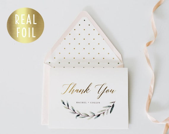 NEW! rachel personalized foil pressed thank you cards / greenery / wedding thank you cards / gold foil / letterpress (sets of 10)