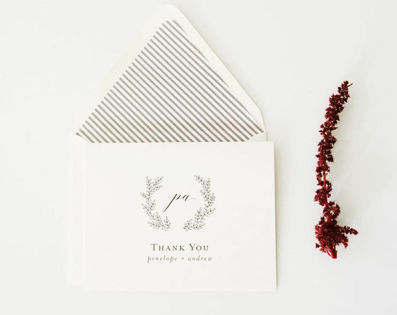 thank you cards / wedding thank you cards / grey monogram laurel wreath / personalized stationery / thank you cards / card set (sets of 10)
