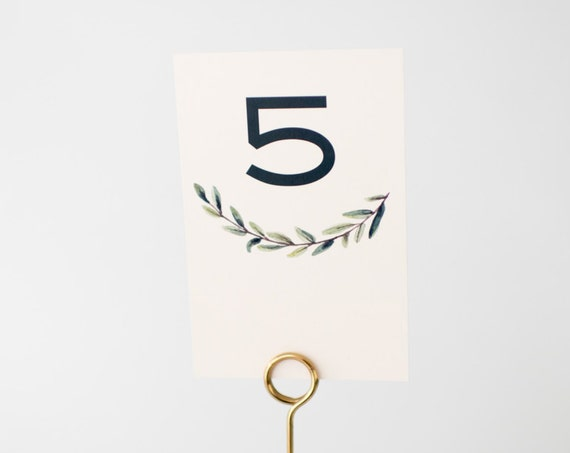 elliot greenery table numbers // winery olive branch watercolor rustic eucalyptus custom modern table numbers