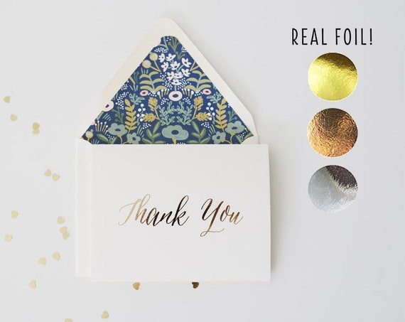 SALE!  50% OFF foil pressed thank you cards / wedding thank you cards / gold foil / rose gold foil / silver foil / letterpress (sets of 10)