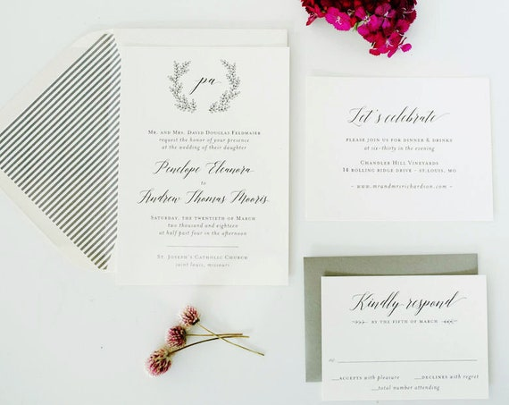 NEW! penelope wedding invitation sample / grey / laurel / wreath / monogram / custom / calligraphy / printed invitation /  invite