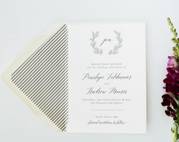 NEW! penelope save the date invitation / printed invite / wreath / grey / laurel / custom / modern / calligraphy / invite (sets of 10)