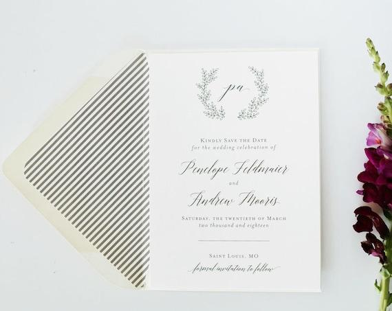 NEW! penelope save the date invitation / printed invite / wreath / grey / laurel / custom / modern / calligraphy / invite (sets of 10)
