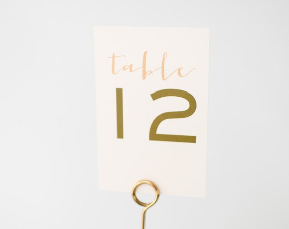 laura table numbers  //  simple rustic floral peach blush gold custom romantic wedding table numbers
