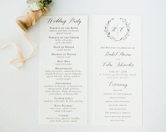 NEW! rachel greenery wedding programs (sets of 10)  // winery olive branch watercolor rustic eucalyptus greenery simple calligraphy program