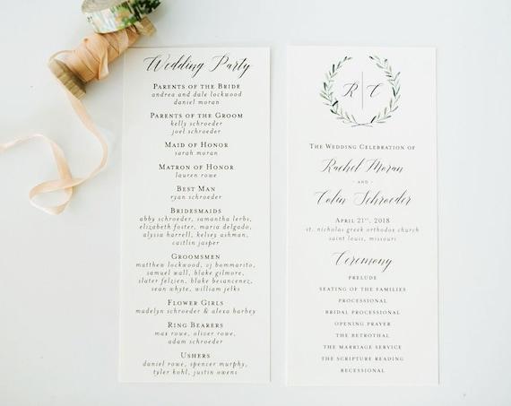 rachel greenery wedding programs (sets of 10)  // winery olive branch watercolor rustic eucalyptus greenery simple calligraphy program