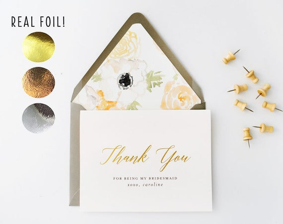 NEW! personalized foil pressed thank you for being my bridesmaid card / bridesmaid thank you card / gold foil / rose gold foil / silver foil