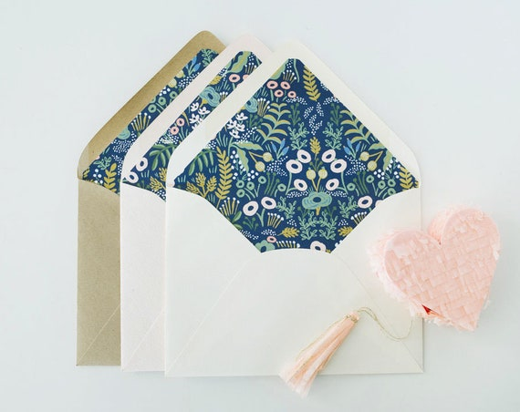 "rifle paper ""tapestry"" lined envelopes / envelope liners (sets of 10) // blue floral / wedding envelopes / envelope liner"
