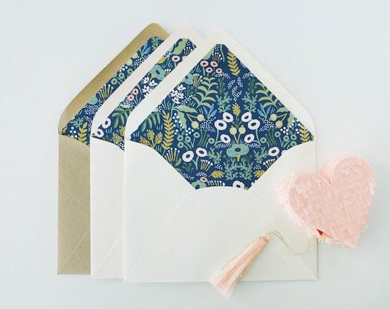 """rifle paper """"tapestry"""" lined envelopes / envelope liners (sets of 10) // blue floral / wedding envelopes / envelope liner"""