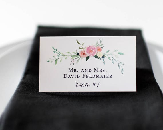 violet place cards / escort cards (sets of 10) // flat or folded wedding place cards / watercolor floral romantic calligraphy