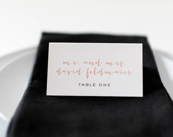 laura place cards / escort cards (sets of 10) // flat or folded wedding place cards / peach blush gold calligraphy neutral modern classic