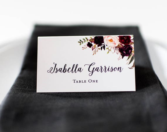 isabella place cards / escort cards (sets of 10) // flat or folded wedding place cards / burgundy watercolor floral romantic calligraphy