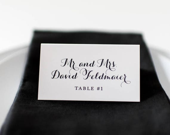 wedding place cards / escort cards (sets of 10) // flat or folded wedding place cards / gray calligraphy neutral modern classic