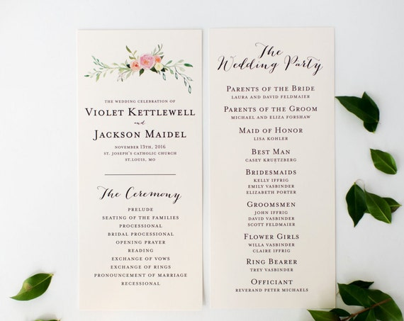 violet wedding programs (sets of 10)  // watercolor floral gold blush romantic calligraphy custom wedding program