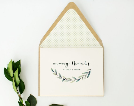 greenery thank you cards / wedding thank you cards / personalized / stationery / card set / lined envelope (sets of 10)
