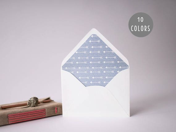 arrow lined envelopes (10 color options) - sets of 10  // rustic modern envelope liners wedding shower party invitation invite