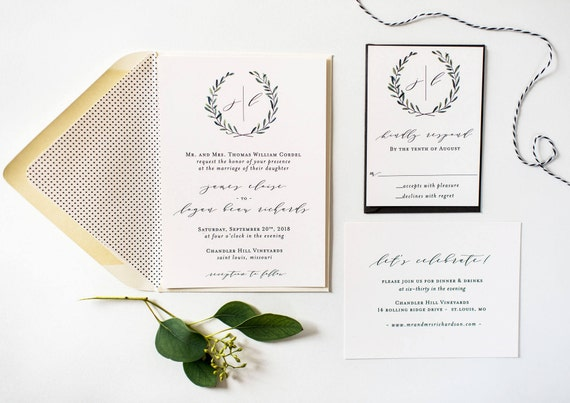 greenery wedding invitation sample // wreath laurel monogram winery olive branch rustic eucalyptus custom calligraphy invite