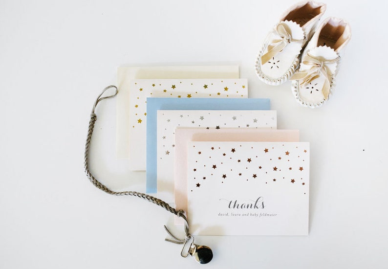 foil pressed stars baby shower thank you cards / baby boy / image 0
